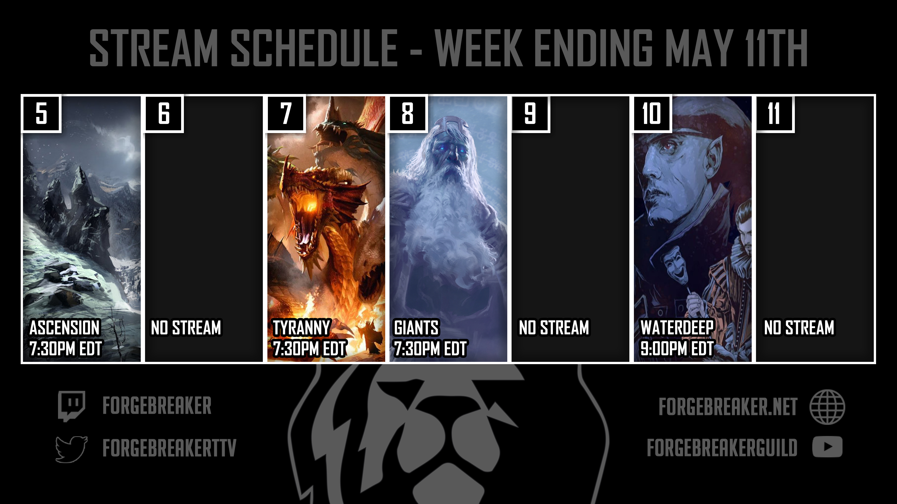 Schedule W/E May 11th